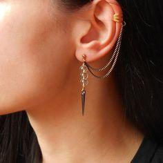 Rock Crystal Spike Earrings Rock Crystal earcuff by Maleena09