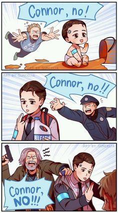 Connor, no! / Detroit: Become Human Meme Comics, Stupid Funny Memes, Funny Relatable Memes, Morbider Humor, Detroit Become Human Connor, Becoming Human, Cute Art, Funny Pictures, Fan Art