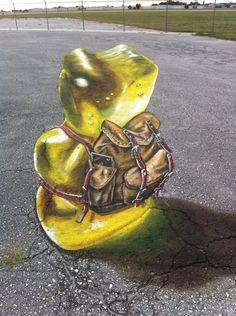 Gummy Bear with backpack. Artist Leon Venice Chalk Festival on November & 15 in Venice, Florida. Painting Tattoo, Body Painting, Chalk Festival, 3d Chalk Art, Venice Florida, Street Painting, Sidewalk Art, November 13, 3d Drawings