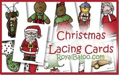 Free Christmas Themed Lacing Cards