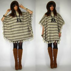 Vintage 70s MEXICAN Hippie STRIPED Southwest WOOL Woven Poncho BLANKET Cape FRINGE