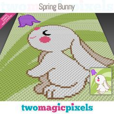 Spring Bunny is a graph pattern for a crochet baby blanket featuring a cute little rabbit sniffing a flower. This graph design is 80 squares wide by Graph Crochet, Crochet Blanket Patterns, Baby Blanket Crochet, Corner To Corner Crochet, Graph Design, Crochet Rabbit, Bobble Stitch, Manta Crochet, Tapestry Crochet
