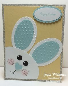Punch Art Bunny Easter Card by - Card. Punch Art Bunny Easter Card by – Cards and Paper Crafts at Splitcoaststampers Diy Easter Cards, Easter Crafts, Handmade Easter Cards, Baby Cards, Kids Cards, Punch Art Cards, Paper Punch, Greeting Cards Handmade, Stampin Up Cards