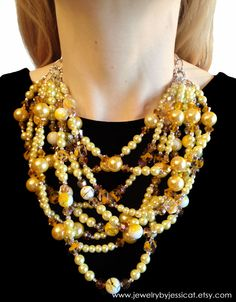 CLASSIC Statement Necklace Yellow Gold Chunky by JewelryByJessicaT, $115.00