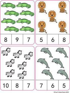 Animals Count and Clip Cards (Numbers by Sue's Study Room Kindergarten Math Worksheets, Preschool Learning Activities, Teaching Math, Preschool Activities, Kids Learning, Learning Numbers, Math Numbers, Math Gs, Montessori Math