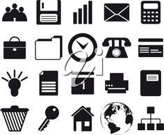 iCLIPART - Business and office set of different vector web icons