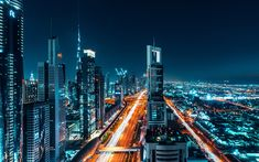 Download wallpapers Dubai, 4k, nightscapes, road, cityscapes, UAE, United Arab Emirates