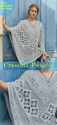Poncho with lace crochet pattern worked easily top down. Very stylish crochet poncho for elegant ladies. To wear not only during autumn but perfect for the summer too. Size from S to XXXL. Picot Crochet, Crochet Shawl, Crochet Lace, Crochet Summer, Crotchet, Crochet Stitches, Crochet Scarves, Crochet Clothes, Crochet Sweaters
