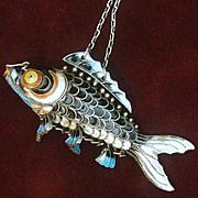 "Large Silver Fish, Chinese Articulated 3"" Orange Cloisonne Carp With  from cosabella on Ruby Lane"