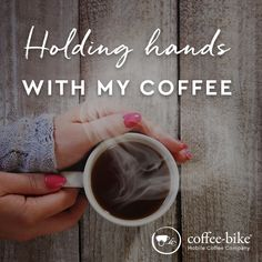 Holding hands with my coffee Coffee Company, Coffee Quotes, My Coffee, Holding Hands, Bike, Tableware, Instagram, Kaffee, Bicycle