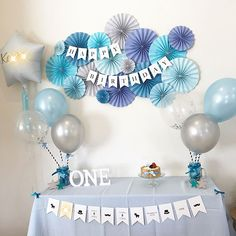 Blue Party Decorations For Girls 61 Top Ideas Happy Birthday Decor, 1st Birthday Girl Decorations, Baby Boy 1st Birthday Party, Birthday Party Decorations Diy, Balloon Decorations Party, Card Birthday, Birthday Greetings, Birthday Ideas, Party Girlande