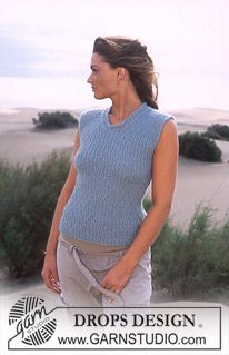 Free knitting patterns and crochet patterns by DROPS Design Jumper Patterns, Knitting Patterns Free, Free Knitting, Free Pattern, Drops Design, Magazine Drops, Sleeveless Jumper, Summer Knitting, Knit Vest