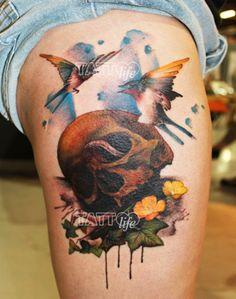 A sweet death tattoo by Lianne Moule, Immortal Ink, Chelmsford, UK.  www.tattoolifegallery.com