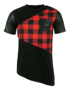 Man t-Shirt red black leather