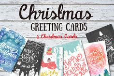 6 Christmas greeting cards set by Graphic Box on Creative Market