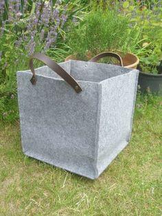 Felt storage box with leather straps medium size by feltallovercom