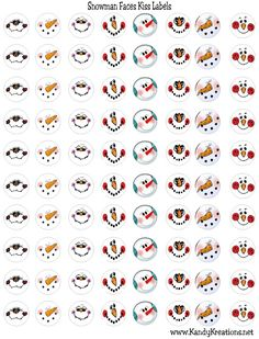 Snowman Faces Kiss Label Free Printable | Kandy Kreations