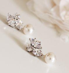 Pearl Wedding Jewelry Crystal Bridesmaid Earrings Bridesmaid Gift White Ivory Swarovski Bridal Pearl Earrings Bridal Party Wedding Gifts by DreamIslandJewellery on Etsy https://www.etsy.com/au/listing/190818969/pearl-wedding-jewelry-crystal-bridesmaid