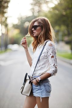 My go-to look is a white blouse. A white button down, peasant top, peplum or lace, a crisp white top looks great with everything, and a staple in my closet. A few of my favorites… !function(d…