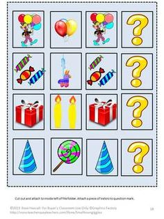 No one loves birthdays more than children. LET'S SING HAPPY BIRTHDAY FILE FOLDER GAMES helps them celebrate in a fun way. This packet consists of 29 pages and makes 6 printable file folder games. They are appropriate for use in a daycare, preschool, or kindergarten classroom. They may also be used as independent tasks for children with autism or other special education needs.