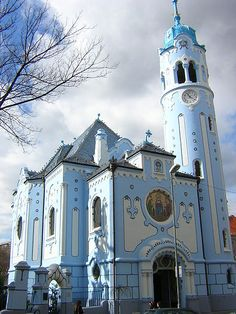 The Blue Church, or Church of St. Elisabeth of Bratislava, Slovakia. The church was built between 1909 and It was one of the last works of the prominent Hungarian architect Ödön Lechner. Cathedral Architecture, Bratislava Slovakia, Cathedral Church, Old Churches, Chapelle, Central Europe, Place Of Worship, Macedonia, Beautiful Buildings