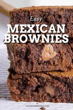 These Mexican Brownies are rich and fudgy with gooey chocolate, seasoned with cinnamon, cayenne powder and my favorite seasoning, ancho powder. Brownies are the best dessert. Here is my recipe. Mini Desserts, Holiday Desserts, Easy Desserts, Authentic Mexican Recipes, Mexican Food Recipes, Healthy Mexican Dessert, Healthy Dessert Recipes, Dinner Recipes, Vegan Recipes
