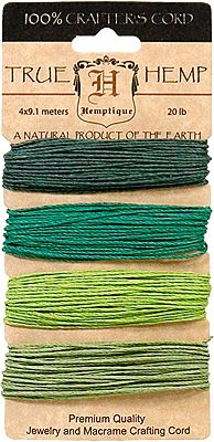 Hemp Cord ~ in pretty shades of Emerald and Ultramarine Green, for color blocking