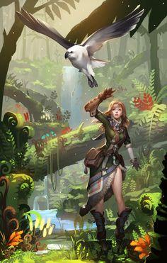 f Ranger Med Armor Sword Parrot friend swamp jungle coastal urban