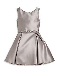 Zoe Girl's Jeweled Satin Dress