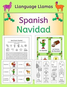 Spanish Christmas vocabulary - Navidad - This 81 page pack of flashcards, word wall, handout, worksheets, activities, games plus Christmas crafts (bookmarks, cards, tree decorations and gift box) contains everything you need to teach 16 Spanish words for talking about Christmas.