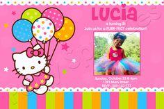 Hello Kitty Balloon Dreams-Hello Kitty birthday party invitations, photo invitations , hello kitty balloon dreams, polka dots, pink kitty