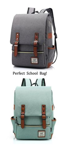 Retro Large Travel Backpack Leisure Leather Canvas Backpack Schoolbag . Gray is better I think. #backpack #school #bag #college #rucksack #gray