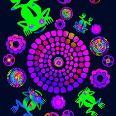 'Psychedelic Aztec Frog Pond Pattern' by Candace Byington 4 Season Room, Trippy Wallpaper, Tribal Dress, African Print Dresses, Tribal Fashion, Wedding Art, Dieselpunk, Blogger Themes, Psychedelic