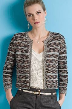 Beautiful Khloe Chanel-Inspired jacket knit in 3 different yarns from S. Charles at String Yarns