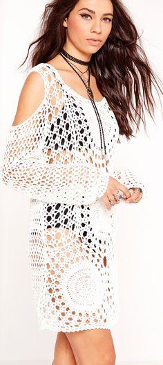 Missguided Cold Shoulder Crochet Dress