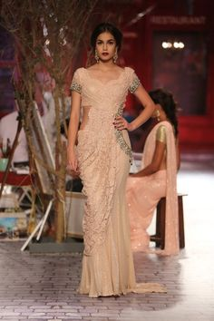 peach color lace embroidered sari - chic and vintage | Monisha Jaising India Couture Week 2014