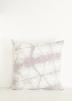 Hand-dyed removable pillow cover in marbled lavender grey silk. Opening at back for faux down pillow insert, included. Machine washable.