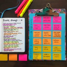 100 Day Plan, Journal Writing Prompts, Brain Dump, Planner Organization, Organizing Tips, Office Organization, Bullet Journal Ideas Pages, Prioritize, Sticky Notes