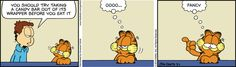 The best candy bars are worth licking the wrapper but this #Garfield #comic takes it a bit far.  See candy bar reviews at www.trynewfoods.blogspot.com