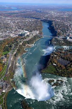 Niagara Falls from above //#travel The falls are almost a mile wide and drops 42 million gallons of water a minute down a 20-story cliff.