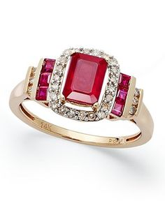 Crimson bliss. Emerald-cut rubies (1-5/8 ct. t.w.) edged by round-cut diamonds (1/5 ct. t.w.) adorn this brilliantly-hued ring. Set in 14k rose gold. | Photo may have been enlarged and/or enhanced. | http://amzn.to/2srmb87