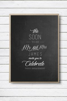 Modern Typography double-sided engagement invitation by RMcreative
