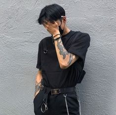 1 or + do you like if I post men's fashion too? - - - -You can find Korean fashion men and more on our w. Edgy Outfits, Grunge Outfits, Cool Outfits, Fashion Outfits, Male Outfits, Vetement Fashion, Korean Fashion Men, Looks Black, Look Fashion