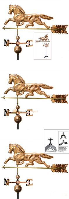 Weathervanes 20512: 38 Horse Weather Vane 3Ft Tall Copper Finish With Roof Fence Mount Vintage Look -> BUY IT NOW ONLY: $99.95 on eBay!