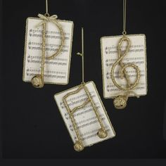 GOLD GLITTER NOTE ON SHEET MUSIC ORNAMENT