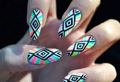 Beautiful Rainbow Tribal Nail Tutorial (Step By Step How-To) #PicCollage…