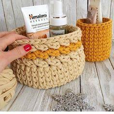 "274 Likes, 3 Comments - @applewhitecrochet on Instagram: ""@knit_krasnodar #fabricyarnbasket #fabricyarn #tshirtyarn #bathroomdesign #childrenroomdecor…"""