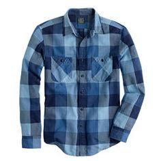 Flannel shirt in warm indigo herringbone plaid