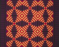 """Pineapple Quilt Amish, Heartsy, Wall Hanging, Folk Art, Sharp Points, Quiltsy, 54"""" x 54"""""""