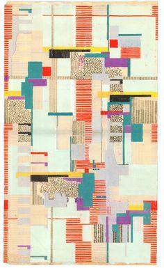 Arne Jacobsen, design drawing, textile or wallpaper, 1950s-60s. Denmark
